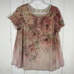 Sundance Sz L Sheer/Lined Short Sleeve Blouse Top
